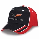 Corvette - Black & Red Pique Mesh - Embroidered C6 Logo Cap 2005-2013 C6