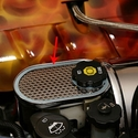 Corvette Brake Master Cylinder Cover w/ Cap Cover - Polished Stainless Steel - Perforated : 1997-2004 C5 & Z06