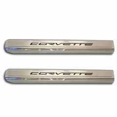 Corvette C6 Executive Series Door Sill - Polished/Brushed Inner - Colored Carbon Fiber Inlay : 2005-2013 C6
