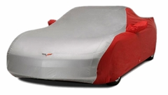 Corvette Car Cover - Two Tone with C6 Embroidered Logo (05-13 C6) - Red/Silver