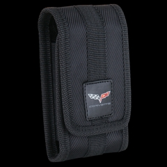 Corvette Cell Phone Holder C6 Logo Nylon Fabric - Black - Large : 2005-2013 C6