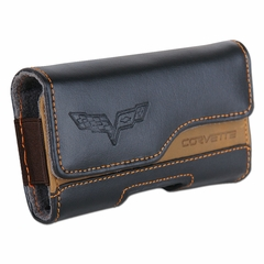 Corvette Cell Phone Holder Leather with C6 Logo - Black/Brown (05-12 C6)