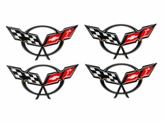 Corvette Center Cap Emblems-1 3/4 In- Black (97-04 C5/Z06)