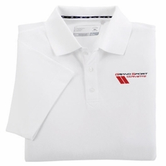 Corvette Championship Polo - White - Embroidered : 2010-2013 C6 Grand Sport