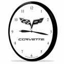 "Corvette Clock - 14"" AA Wall Clock with 100 Year Centennial Emblem : C6 2009-2013"
