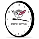 "Corvette Clock - 14"" AA Wall Clock with 50th Anniversary Emblem"