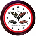 "Corvette Clock - 15"" Neon Wall Clock with Corvette & C5 Emblem"