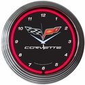 "Corvette Clock - 15"" Neon Wall Clock with Corvette & C6 Emblem"