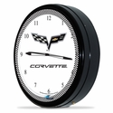 "Corvette Clock - 20"" White Neon Wall Clock with 100 Year Centennial Emblem : C6 2005-2013"