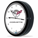 "Corvette Clock - 20"" White Neon Wall Clock with 50th Anniversary Emblem : C5 1997-2004"