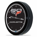 "Corvette Clock - 20"" White Neon Wall Clock with 60th Anniversary Emblem : C6 2005-2013"