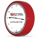 "Corvette Clock - 20"" White Neon Wall Clock with Z06 Emblem : C6 ZR1 2006-2013"