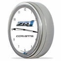 "Corvette Clock - 20"" White Neon Wall Clock with ZR1 Emblem : C6 ZR1 2009-2013"