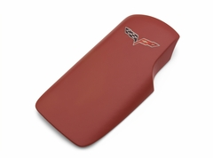 Corvette Console Lid Cover - Red with C6 Emblem (05-13 C6/Z06/ZR1/Grand Sport)