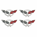 "Corvette Domed Decals 2.375"" - Set of 4 : 1997-2004 C5 Logo"