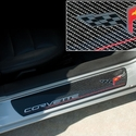Corvette Door Sill Plates - Carbon Fiber with C6 Logo : 2005-2013 C6