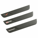 Corvette Door Sill Plates - Leather w/Embroidered Logo : 2005-2013 C6, Z06 or Grand Sport