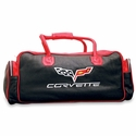 Corvette Duffel Bag Leather with C6 Logo Red & Black