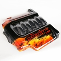 Corvette Engine Cover 1 Pc. - Custom Painted Skulls/Flames - Carbon Fiber : 2008-2013 C6 LS3