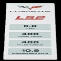 Corvette Engine Performance Data Plaque : 2005-07 C6 LS2