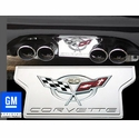 Corvette Exhaust Plate with 50th Anniversary Emblem - Billet Chrome (2003 C5 / C5 Z06)