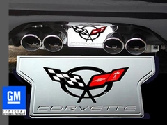 Corvette Exhaust Plate with C5 Emblem - Billet Aluminum Chrome (97-04 C5 / C5 Z06)