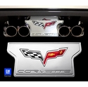 Corvette Exhaust Plate with C6 Emblem - Billet Aluminum Chrome (05-13 C6 NON-NPP Exhaust)