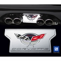 Corvette Exhaust Plate with Commemorative Emblem - Billet Chrome (2004 C5 / C5 Z06)