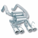 "Corvette Exhaust System - Borla Rear Section ""Classic S-Type"" - 4"" Round Rolled Angle Cut Tips : 2005-08 C6 - Borla Exhaust Systems 11744"