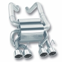 Corvette Exhaust System - Borla Rear Section Touring 4 Rd 4.25� Rd, Ac, Ic Tips : 2006-13 C6 Z06 & ZR1