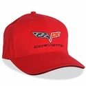 Corvette Fitted Hat Embroidered with C6 Emblem - Red Sandwich Bill : 2005-2013 C6