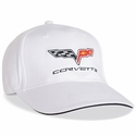 Corvette Fitted Hat Embroidered with C6 Emblem - White Sandwich Bill : 2005-2013 C6
