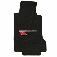 Corvette Floor Mats - Velourtex Grand Sport Logo - Ebony : 2010-2013 C6 Grand Sport