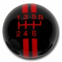 Corvette Grand Sport Style 6-Speed Shift Knob - Black w/ Red Stripes(05-13 C6/C6 Z06/ZR1/Grand Sport)