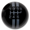 Corvette Grand Sport Style 6-Speed Shift Knob - Black w/ Silver Stripes(05-13 C6/C6 Z06/ZR1/Grand Sport)