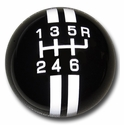 Corvette Grand Sport Style 6-Speed Shift Knob - Black w/ White Stripes (05-13 C6/C6 Z06/ZR1/Grand Sport)