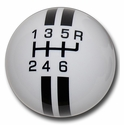 Corvette Grand Sport Style 6-Speed Shift Knob - White w/ Black Stripes (05-13 C6/C6 Z06/ZR1/Grand Sport)