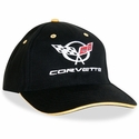 Corvette Hat - Embroidered Script and C5 Emblem : Black