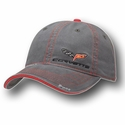 Corvette Hat - Gray Washed Twill Cap with C6 Logo
