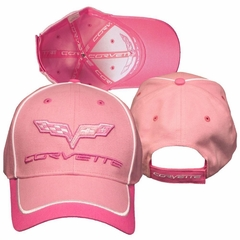 Corvette Hat - Pink Twill Cap with C6 Corvette Logo & Script