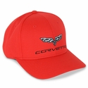 Corvette Hat - Sports Mesh Performance Elite - Red : 2005-2013 C6