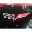 Corvette Hood Panel Badge - Crossed Flags for Factory Hood Pad - Polished/Brushed Stainless Steel : 2005-2013 C6 & Z06