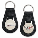 Corvette Keychain - Leather w/Chromed Enameled Emblem/Black - C5 & C5Z06 405HP