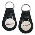 Corvette Keychain - Leather w/Chromed Enameled Emblem/Black - C6 & C6Z06 505HP