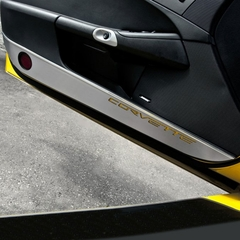 Corvette Kick Panel/Door Guards - Brushed Stainless Steel with Carbon Fiber Corvette Inlay : 2005-2013 C6