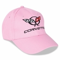 Corvette Ladies Embroidered C5 Emblem and Corvette Script : Pink