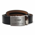 Corvette Leather Belt with Brushed Nickel Buckle : C4 Logo