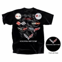 Corvette - Legend Lives On - All Year Corvette Logo T-shirt : Black, C1-C7, 1953-2016