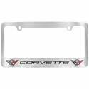 Corvette License Plate Frame - Black Corvette Lettering / Double C5 Emblems