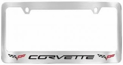 Corvette License Plate Frame - Black Corvette Lettering / Double C6 Emblems (05-13 C6)